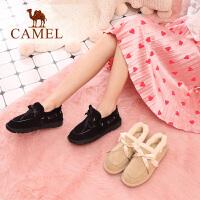 camel骆驼女鞋冬季新款女雪地靴 时尚毛毛鞋韩版休闲平跟短靴女