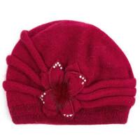 针织毛线帽 女秋冬季帽子 可爱花朵休闲百搭保暖帽护耳