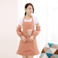 时尚无袖厨房围裙女款韩式防水围裙带袖套奶茶店美容院餐厅咖啡店工作服可爱时尚女夏天