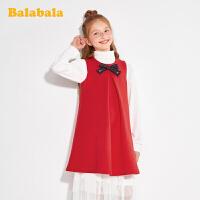 巴拉巴拉儿童公主裙女童连衣裙春装童装中大童学院风背心裙洋气潮