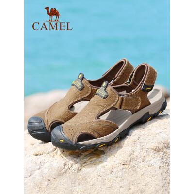 camel骆驼男凉鞋 夏季男士休闲户外沙滩鞋 真皮魔术贴牛皮包头凉鞋