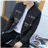 韩版时尚新款棒球服印花男士夹克衫修身时尚青年男装休闲外套短款