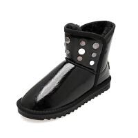 2018冬季新款防水雪地靴加绒保暖短筒靴套筒漆皮平底学生女棉鞋子