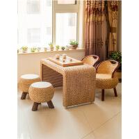 功夫茶几客厅小茶桌藤编茶几藤艺阳台椅子三件套桌子客厅小户型现代简约功夫茶桌 整装
