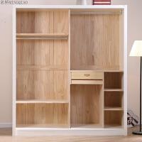 实木衣柜 推拉衣柜 组合家具整体收纳储物衣橱两门小衣柜 2门
