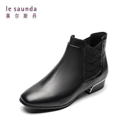 【全场3折】莱尔斯丹 专柜秋冬低跟套筒女靴切尔西女短靴 8T29903 低跟套筒女靴