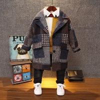 2017秋新儿童羊绒毛呢外套韩版中长款呢子风衣男童经典格子大衣