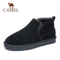 camel骆驼男鞋 冬季新款保暖休闲鞋男加绒保暖靴反绒牛皮雪地靴男