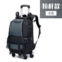 拉杆相机包 旅行双肩摄影包 相机背包 大容量便携单反拉杆箱男女 灰色 (拉杆)灰色