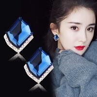 水晶耳环超闪 耳钉s925纯银女 气质菱形耳扣简约防过敏耳饰品