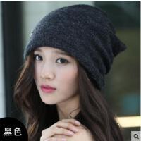 女士秋季包头帽韩版时尚休闲堆堆帽套头围脖两用头巾帽字母帽情侣套空顶无檐头帽子