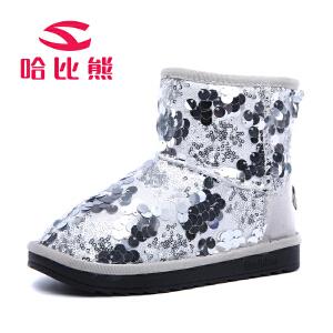 【79元两件包邮】哈比熊童鞋2016冬季新款潮流时尚儿童女童低筒短靴亮片保暖雪地靴