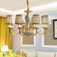 照明美式吊灯全铜客厅灯具简约欧式复古田园陶瓷餐厅布艺纯铜灯饰