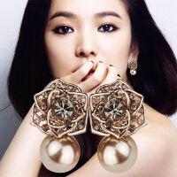 S925纯银耳环饰品个性夸张玫瑰花鎏韩版气质耳环耳饰耳钉 女
