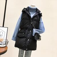中长款羽绒棉马甲女冬季2018新款大口袋宽松连帽无袖背心马夹外套