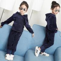 女童秋装套装2018新款儿童运动金丝绒小女孩加绒加厚卫衣两件套