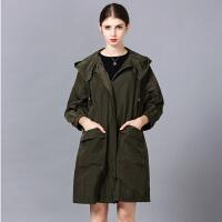 �莱欧洲站女装2017春装新款潮大口袋纯色中长款连帽风衣外套女