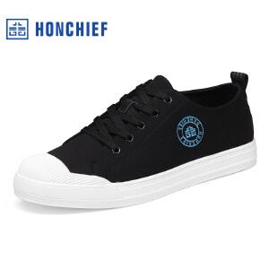 HONCHIEF 红蜻蜓旗下春秋新款经典潮流系带布鞋舒适男士休闲鞋子