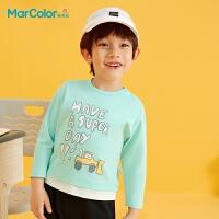 马卡乐童装2021春季新款男童撞色涂鸦印花纯棉假两件长袖T恤
