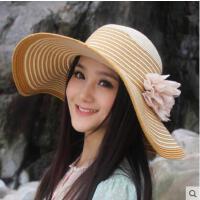 遮阳帽女网红同款时尚韩版潮花朵紫外线大沿草帽女士户外运动新品防晒沙滩帽子