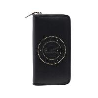 VERSACE JEANS范思哲 新品女士黑色聚酯纤维LOGO图案拉链钱包E3VRBPQ1 70050 899