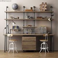 美式实木台式电脑桌家用组装写字台单人办公卧室书桌书架组合