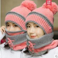 女士帽子围巾两件套女 出游保暖时尚潮可爱韩版百搭一体毛线帽