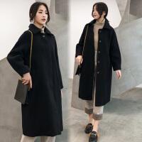 黑色毛呢外套2018冬装新款女装韩版宽松中长款过膝赫本羊毛呢大衣