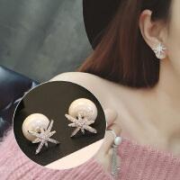 气质个性双面珍珠耳钉女学生纯银简约雪花耳环网红耳饰
