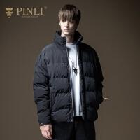 PINLI品立2020冬季新款男装立领字母印花短款棉衣外套休闲青年