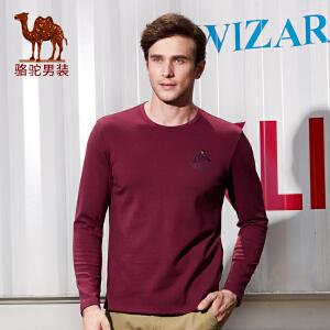 骆驼男装 秋季新款时尚绣标圆领棉质日常休闲长袖T恤衫男上衣