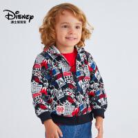 迪士尼宝宝重返学院男童针织潮流连帽前开外套2018秋款上新