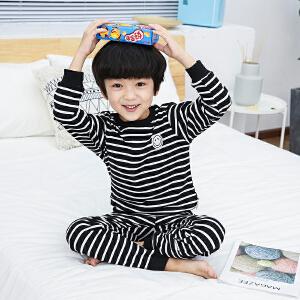 童装2019春秋款新款男童条纹睡衣儿童长袖套装宝宝时尚家居服