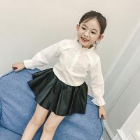 儿童衬衣长袖女童白衬衫演出服小孩上衣春装立领中大童洋气潮时尚 白色
