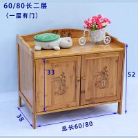 楠竹餐边柜酒柜茶水柜客厅实木多层厨房碗橱柜收纳储物柜置物架子 双门