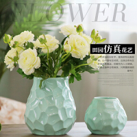 包邮文艺青白浅绿色陶瓷花瓶二件套露莲玫瑰仿真花艺套装家居饰品