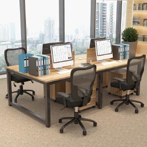 柏易 环保加厚办公桌钢木会议桌B款 经济型办公桌椅易拆装简约现代电脑桌培训桌职员桌