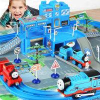 越诚托马斯儿童停车场惯性电动轨道小火车合金大汽车套装男孩玩具
