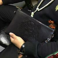 男士手包手拎软皮休闲青年潮大容量韩版信封个性手拿夹包 版虎头包 大号卡位