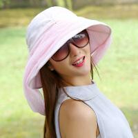 帽子女夏天户外网纱可折叠遮阳帽大沿防晒防紫外线遮脸沙滩太阳帽