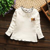 宝宝纯棉衬衫婴儿秋装女童长袖衬衣女宝宝纯色白色衬衣小童童装 黑花边加绒衫