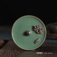 古韵青瓷陶瓷创意檀香香炉茶道香道香座 双龙戏珠线香炉香插