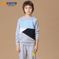 英格里奥秋季新款男童休闲套头卫衣套装中大童儿童卫衣裤两件套潮LLB820S