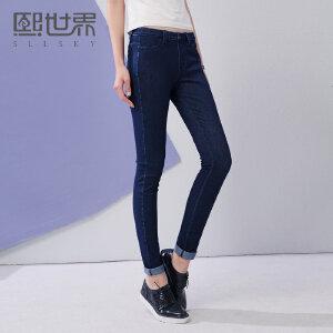 熙世界新款裤装修身简约百搭牛仔长裤铅笔裤大码女193LN063