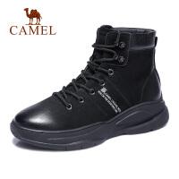 camel骆驼男鞋 秋季新款时尚高帮潮靴男舒适拼接工装靴休闲靴子