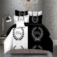 床单四件套个性情侣双人肤棉被套黑色白色简约时尚主题酒店宾馆