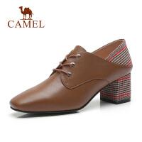 camel骆驼 秋季头层牛皮高跟女鞋鞋子女粗跟英伦风单鞋拼接皮鞋