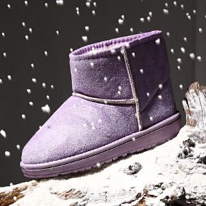 2017新款雪地靴女短靴真皮平底女靴子欧美加厚加棉鞋休闲短筒