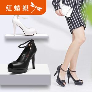 红蜻蜓女鞋2017新款春新高跟鞋女鞋性感鱼嘴防水台真皮女鞋单鞋子
