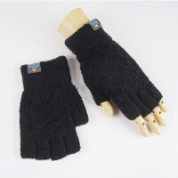 半指手套男秋冬季时尚韩版男士毛线针织半截手套学生写字保暖手套冬天